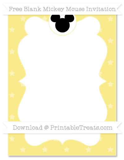 Free Pastel Yellow Star Pattern Blank Mickey Mouse Invitation