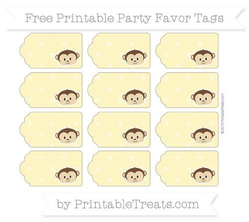 Free Pastel Yellow Star Pattern Boy Monkey Party Favor Tags