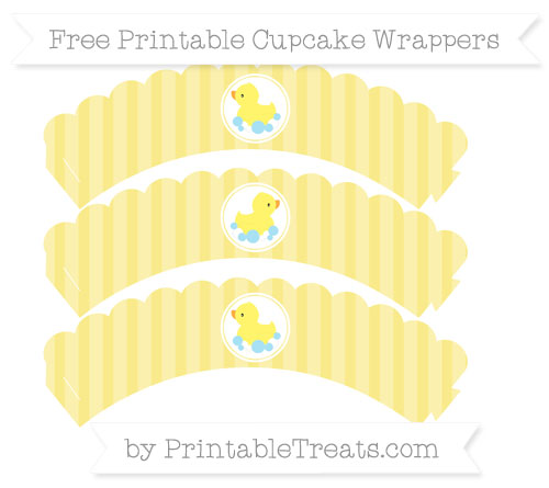 Free Pastel Yellow Striped Baby Duck Scalloped Cupcake Wrappers