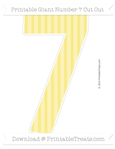 Free Pastel Yellow Striped Giant Number 7 Cut Out