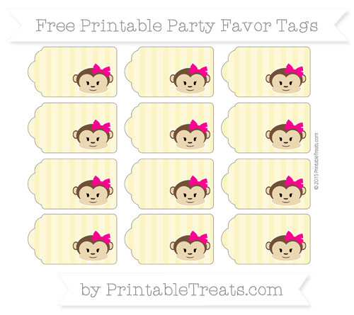 Free Pastel Yellow Striped Girl Monkey Party Favor Tags
