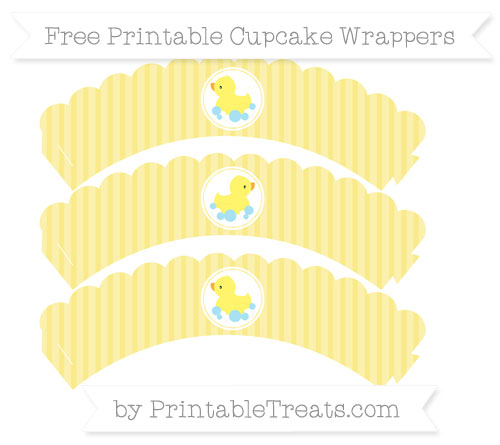 Free Pastel Yellow Thin Striped Pattern Baby Duck Scalloped Cupcake Wrappers