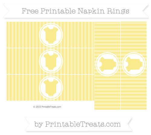 Free Pastel Yellow Thin Striped Pattern Baby Onesie Napkin Rings