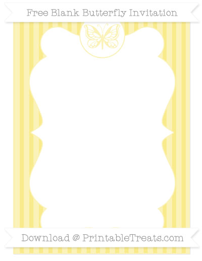 Free Pastel Yellow Thin Striped Pattern Blank Butterfly Invitation