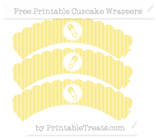 Free Pastel Yellow Thin Striped Pattern Diaper Pin Scalloped Cupcake Wrappers