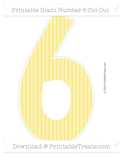 Free Pastel Yellow Thin Striped Pattern Giant Number 6 Cut Out