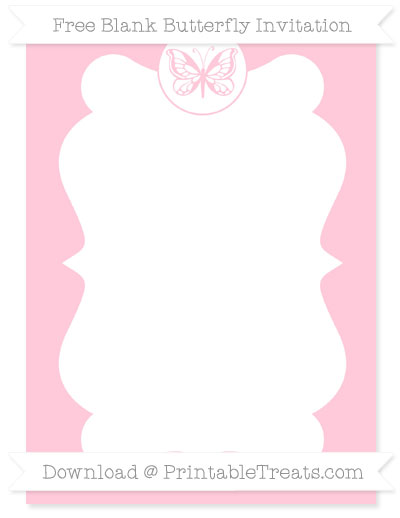 Free Pink Blank Butterfly Invitation