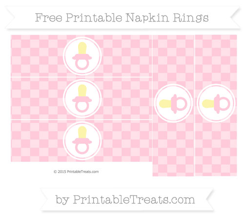 Free Pink Checker Pattern Baby Pacifier Napkin Rings
