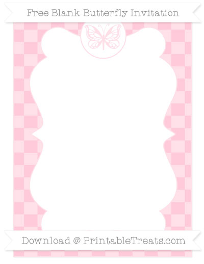 Free Pink Checker Pattern Blank Butterfly Invitation