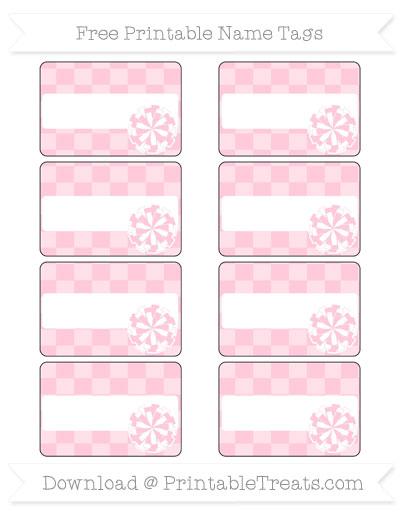 Free Pink Checker Pattern Cheer Pom Pom Tags