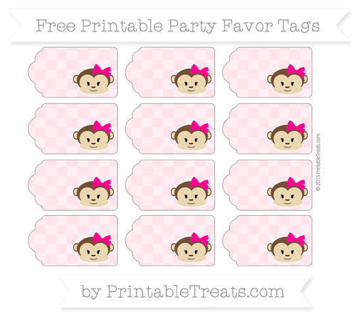 Free Pink Checker Pattern Girl Monkey Party Favor Tags