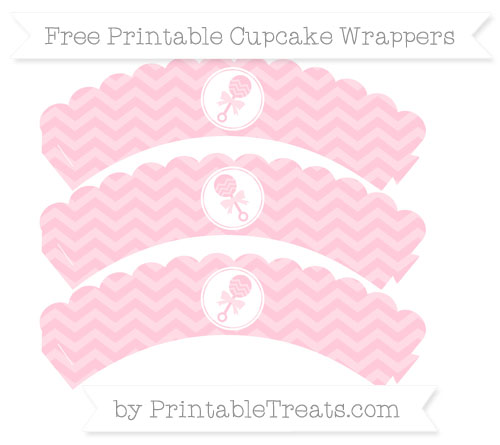 Free Pink Chevron Baby Rattle Scalloped Cupcake Wrappers