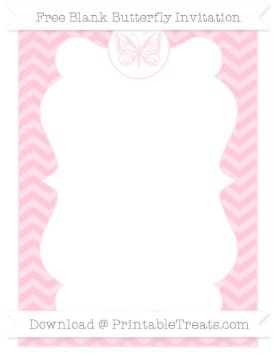 Free Pink Chevron Blank Butterfly Invitation
