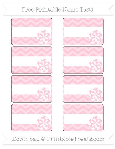 Free Pink Chevron Cheer Pom Pom Tags