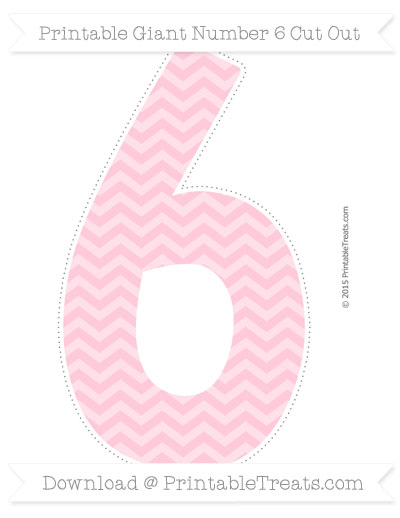 Free Pink Chevron Giant Number 6 Cut Out