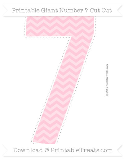 Free Pink Chevron Giant Number 7 Cut Out