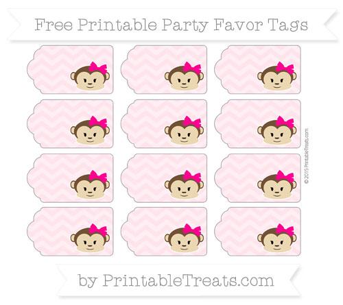 Free Pink Chevron Girl Monkey Party Favor Tags