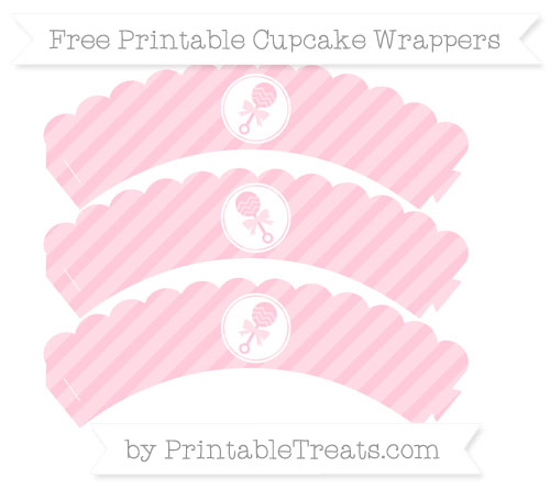 Free Pink Diagonal Striped Baby Rattle Scalloped Cupcake Wrappers