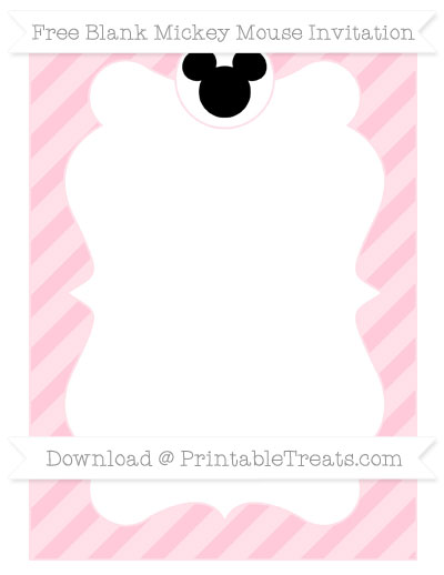 Free Pink Diagonal Striped Blank Mickey Mouse Invitation