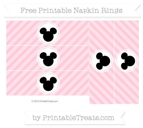 Free Pink Diagonal Striped Mickey Mouse Napkin Rings