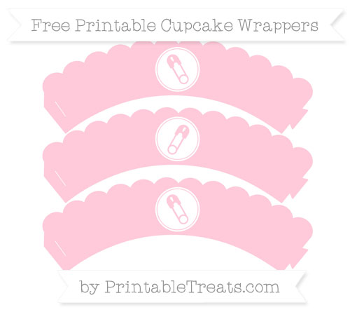 Free Pink Diaper Pin Scalloped Cupcake Wrappers