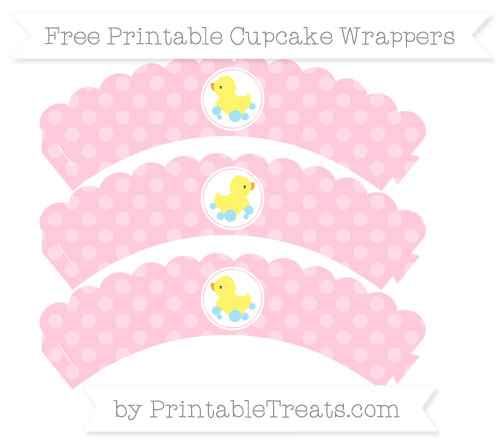 Free Pink Dotted Pattern Baby Duck Scalloped Cupcake Wrappers
