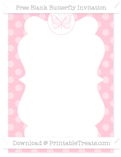 Free Pink Dotted Pattern Blank Butterfly Invitation