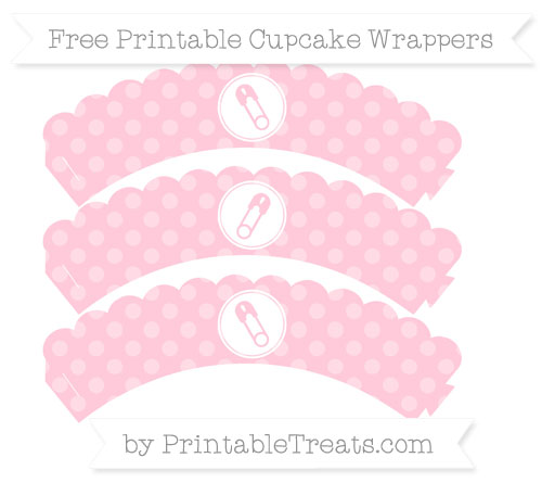 Free Pink Dotted Pattern Diaper Pin Scalloped Cupcake Wrappers