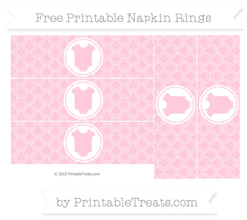 Free Pink Fish Scale Pattern Baby Onesie Napkin Rings