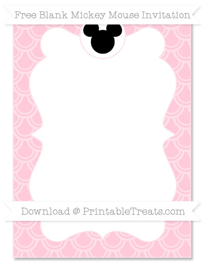 Free Pink Fish Scale Pattern Blank Mickey Mouse Invitation