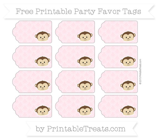 Free Pink Fish Scale Pattern Boy Monkey Party Favor Tags
