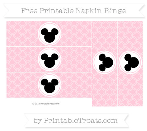 Free Pink Fish Scale Pattern Mickey Mouse Napkin Rings