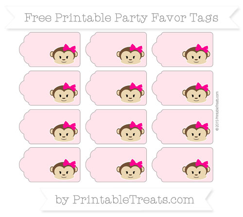 Free Pink Girl Monkey Party Favor Tags