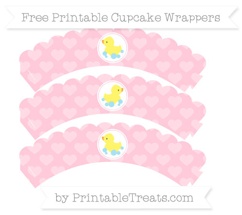 Free Pink Heart Pattern Baby Duck Scalloped Cupcake Wrappers