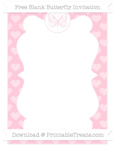 Free Pink Heart Pattern Blank Butterfly Invitation
