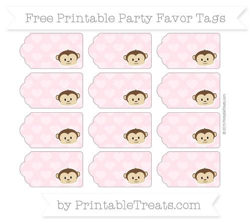 Free Pink Heart Pattern Boy Monkey Party Favor Tags