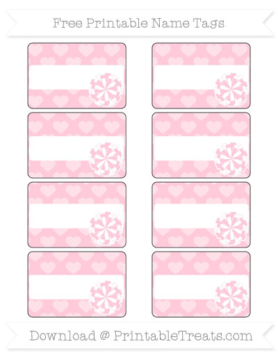 Free Pink Heart Pattern Cheer Pom Pom Tags