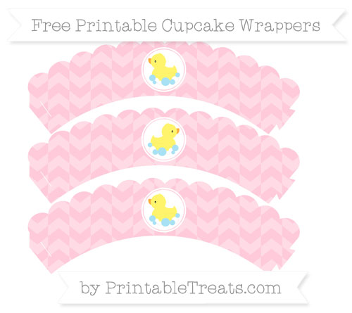 Free Pink Herringbone Pattern Baby Duck Scalloped Cupcake Wrappers