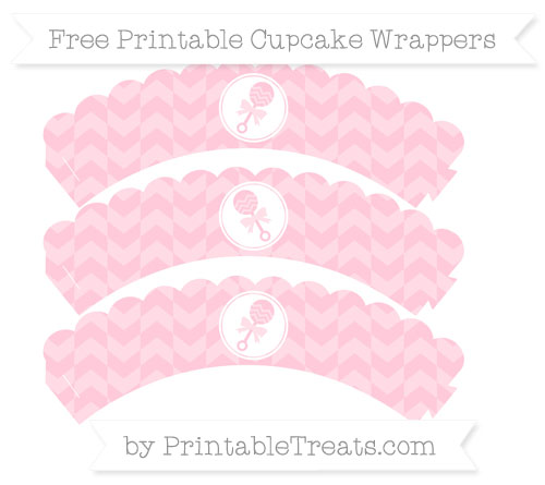 Free Pink Herringbone Pattern Baby Rattle Scalloped Cupcake Wrappers