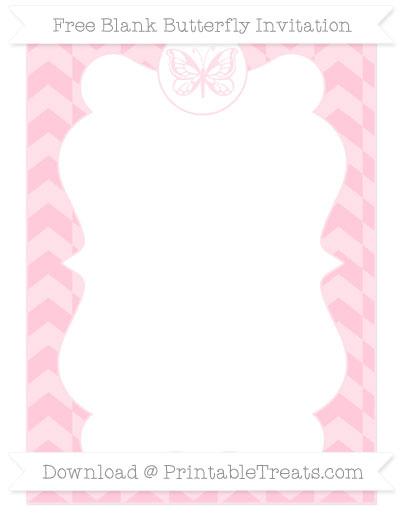 Free Pink Herringbone Pattern Blank Butterfly Invitation