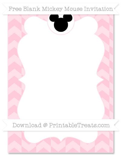 Free Pink Herringbone Pattern Blank Mickey Mouse Invitation