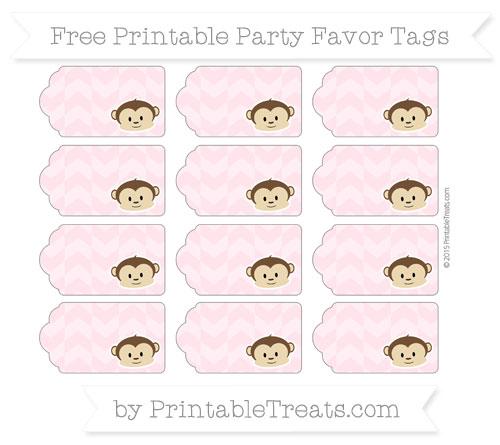 Free Pink Herringbone Pattern Boy Monkey Party Favor Tags