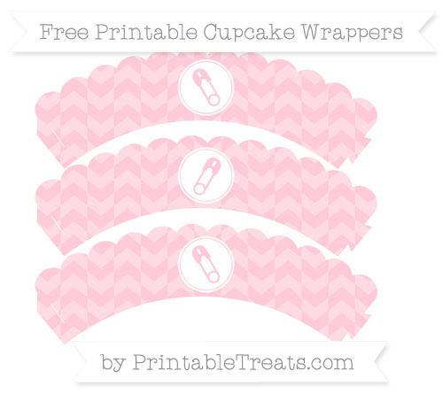 Free Pink Herringbone Pattern Diaper Pin Scalloped Cupcake Wrappers