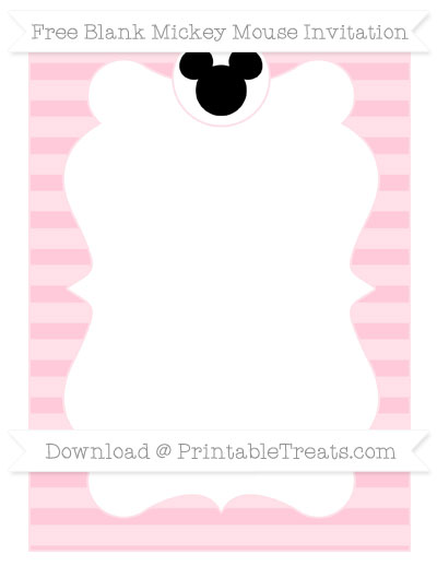 Free Pink Horizontal Striped Blank Mickey Mouse Invitation
