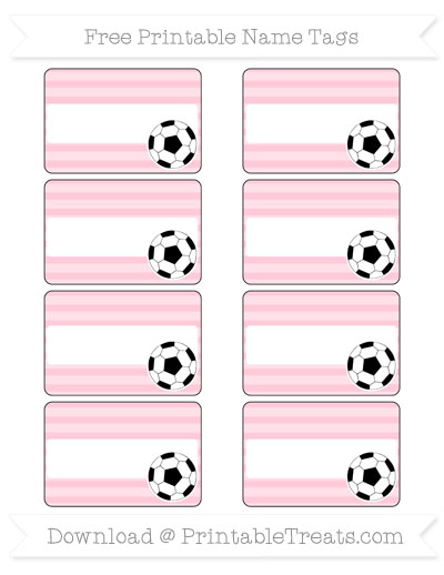 Free Pink Horizontal Striped Soccer Name Tags