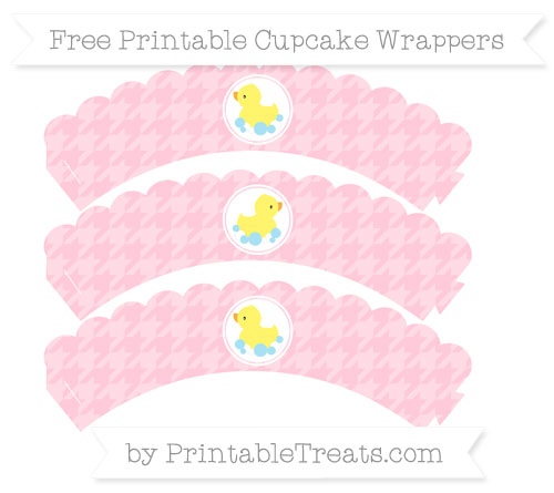 Free Pink Houndstooth Pattern Baby Duck Scalloped Cupcake Wrappers