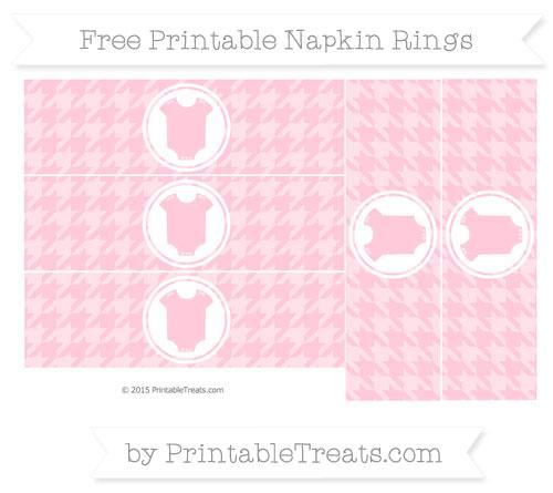 Free Pink Houndstooth Pattern Baby Onesie Napkin Rings