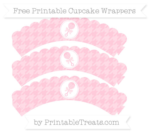 Free Pink Houndstooth Pattern Baby Rattle Scalloped Cupcake Wrappers