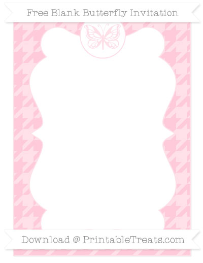 Free Pink Houndstooth Pattern Blank Butterfly Invitation