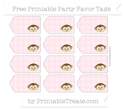 Free Pink Houndstooth Pattern Boy Monkey Party Favor Tags